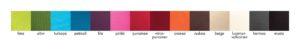 TeaWear puuvillakankaiden värikartta