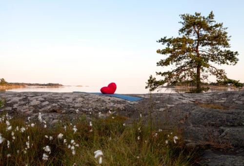 Sydän meditaatiotyyny
