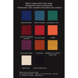 Värit: sinininen, turkoosi, vihreä, viinin punainen, punainen, oranssi, lila, terrakotta, keltainen, valkoinen ja musta